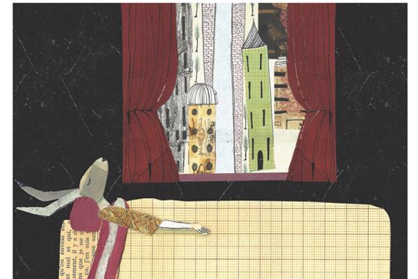 Illustration of a rabbit sleeping in a bed with a view of a city through a window behind