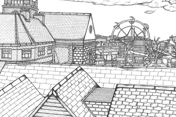 Monochrome illustration of rooftops with ferris wheel in the distance