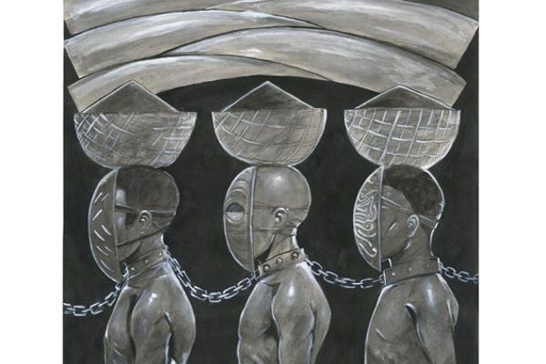 Illustration of men chained together at the neck