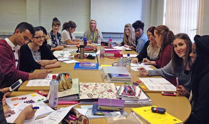 PGCE students doing group practical work