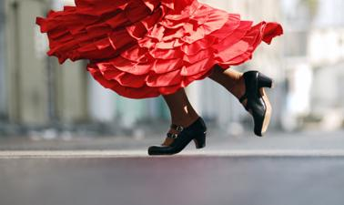 A close up shot of the bottom of a flamenco dancer's feet and her shoes