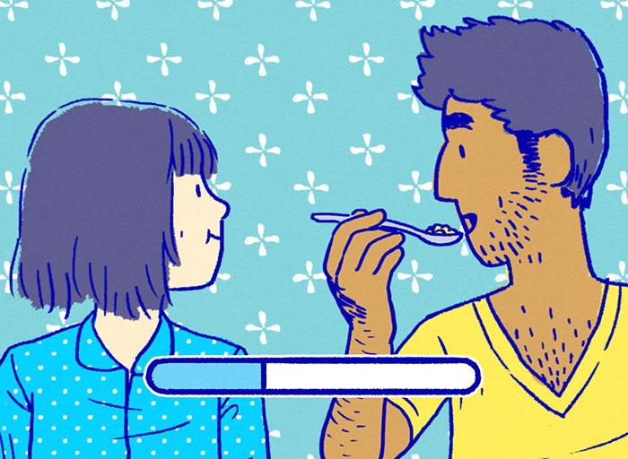 "A still from the computer game ""Florence"" a cartoon Florence and a boyfriend are eating"