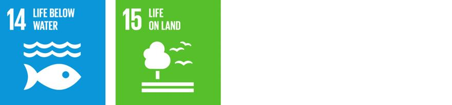 The SDG logos for 14.Life Below Water and 15.Life on Land