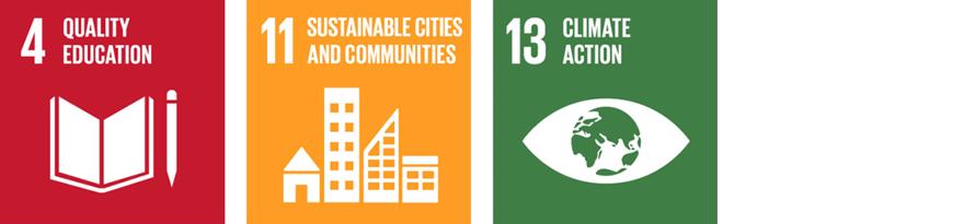 The SDG logos for 4.Quality Education, 11. Sustainable Cities and Communities and 13. Climate Action
