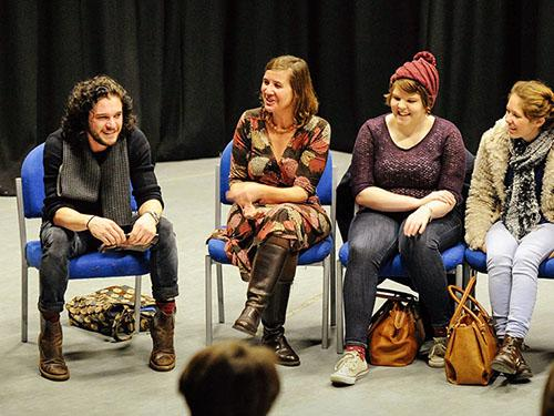 Actor from Game of Thrones Kit Harrington (Jon Snow) gives a talk in the Drama Studio at The University of Worcester