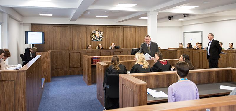 Law students study in The University of Worcester's own Court Room
