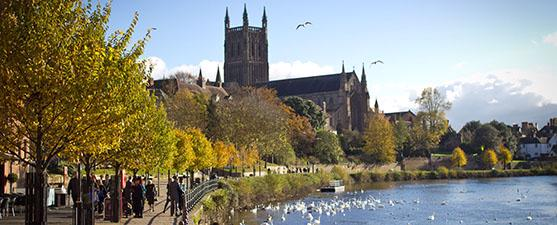 Worcester Cathedral and the River Severn on a sunny day