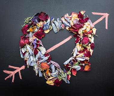 A heart made out of flowers