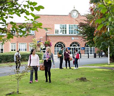 Students outside the University of Worcester St John's campus