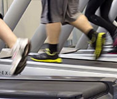 Four pairs of legs on four separate running machines