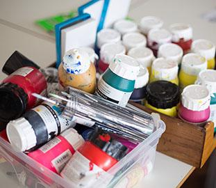 a cluster of paint pots