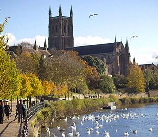 worcester cathedral by the river populated by swans